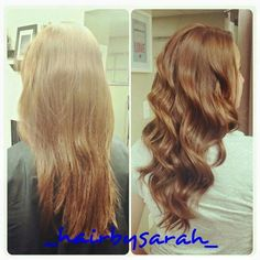 Before/after Hair cut,  took blunt layered look into wispy v cut,  so stunning!