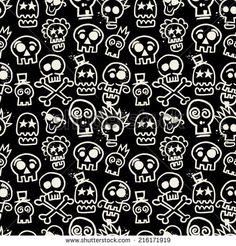 Sketchy Skull Seamless Repeat Wallpaper in Black - stock vector