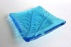 Light Turquoise Fused Glass Feather Imprint Square