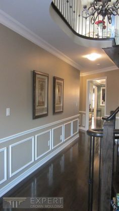 """6 1/4"""" Crown moulding and applique wainscoting in hallway.  Expert Crown Moulding ©"""