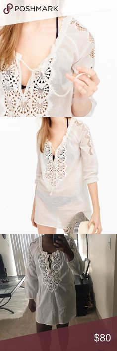 "J. Crew Embroidered tunic Brand new tags modeled for photo. Loose fit. Hits at low hip. Body length: 32 1/2"". lightweight cover-up is perfect for vacation or throw a nude slip under it and wear as a dress!  Cotton. Three-quarter sleeves.  Item 32758. J. Crew Swim Coverups"