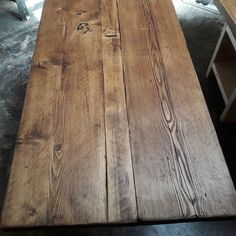 Desk top made from reclaimed scaffold boards Scaffold Boards, Scaffolding, Rustic Table, Board Ideas, Home Office, Dining Table, Study, Desk, Top