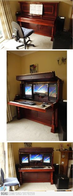 Upright piano becomes hiding spot for computer screens & key boards. This is one of the cooler things I've seen yet!!! So cool! http://d24w6bsrhbeh9d.cloudfront.net/photo/3078259_460s.jpg