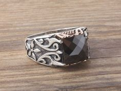 Men Ring 925 Silver Natural Black Onyx Size 9-10-11-12 US Men's Gemstone Jewelry #IstanbulJewellery #Statement