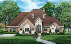 A courtyard entry ushers you into this gorgeous European house plan with its elegant hip roof. European Plan, European Style Homes, European House Plans, European Home Decor, Best House Plans, Dream House Plans, House Floor Plans, Master Suite, Butler