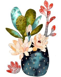 illustration Cactus Succulent Painting, Watercolor Art, Archival Art Print - Desert Collection What Art And Illustration, Illustration Cactus, Watercolor Illustration, Watercolor Flowers, Watercolor Paintings, Tableau Pop Art, Cactus Art, Botanical Art, Diy Art