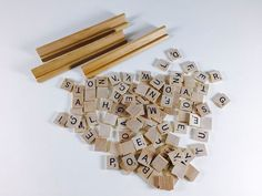 Vintage Scrabble Alphabet Tiles Lot Of 100, 3 Holders From Game Wood Letter Tiles Craft Scrapbook Supplies Mixed Media Art DIY Supplies - pinned by pin4etsy.com