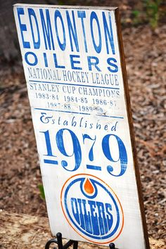 Edmonton Oilers Hockey - Established 1979 - Stanley Cup Champs wood sign on Etsy, $49.99