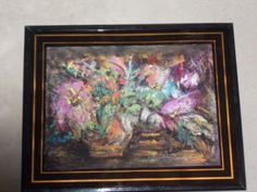 """ORIGINAL""""MOONLIGHT FLORAL"""" PAINTED IN ARTIST WATERCOLOR AND PASTEL CHALK, FRAMED UNDER GLASS. SIZE OF PAINTING IS 6X8 ON 140 WEIGHT WATERCOLOR PAPER IN BLACK AND GOLD METAL FRAME UNDER GLASS, 8.5X10.5.  SIMPLE BEAUTIFUL, DIRECT FROM TEXAS ARTIST, SIGNED.  RICH VIBRANT COLORS AGAINST A DARK BACKGROUND.  GREAT TABLE TOP OR WALL DECOR, GIFTING TOO!    GO TO MY GALERY OF ART @ ETSY AT UINMIND. GO TO ETSY WHERE IT SAYS HAND MADE HIT ARROW BOX, HIT PEOPLE PUT IN UINMIND RETURN FOR PURCHASE INFO."""