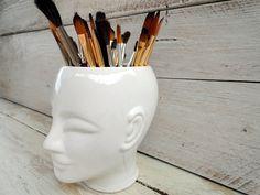Artsy white ceramic Head Brusholder Plantpot by BelgianCoffeeBreak