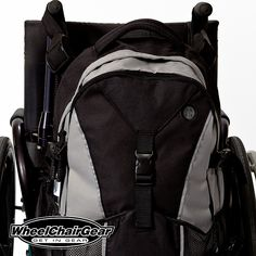 The Pack Rat Wheelchair Backpack. The Pack Rat wheelchair backpack has two large attaching straps with loops so you can securely attach the wheelchair backpack to your push handle wheelchair or your wheelchair without push handles. With two large zippered storage compartments you've got plenty of storage space for your stuff. CLICK HERE FOR MORE INFO http://www.wheelchairgear.com/product/the-black-pack-rat-wheelchair-backpack/