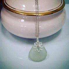 Silver sea glass pendant