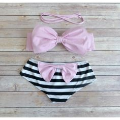 Bow Bandeau Bikini Cheeky Boy Short Style Swimwear With Bow on Butt... ($48) ❤ liked on Polyvore