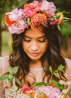 I'd never do a floral crown but I like the flowers used