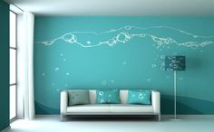 Cute underwater/fish tank feeling for your living room. Super fun!