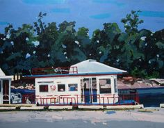 Houseboats in June Original Larger Landscape Painting by Paintbox, $200.00