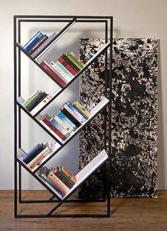 Angled shelf bookcase Modern Home Furniture Design of V Bookcase by Fraktura… Modern Home Furniture, Steel Furniture, Furniture Design, Vintage Furniture, Rustic Furniture, Office Furniture, Furniture Decor, Geometric Furniture, Trendy Furniture