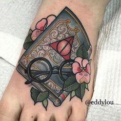 WEBSTA @ ladytattooers - Delightful #HarryPotter tattoo by @eddylou!! #LadyTattooers #HarryPotterTattoo
