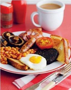 A full English breakfast. I miss this so much. What I wouldn't give for English Bed and Breakfast right now!