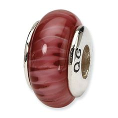 Sterling Silver Reflections Red Handblown Glass Bead 4mm Diameter Hole -- Check out the image by visiting the link.