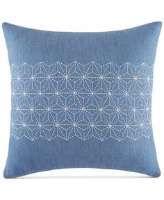 "Tommy Hilfiger Geo Embroidered 18"" Square Decorative Pillow - Decorative & Throw Pillows - Bed & Bath - Macy's"