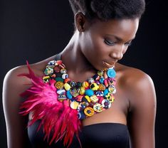 "Christie Brown is a Ghanaian based luxury women's clothing/fashion brand whose aim is to satisfy the urge ""of that modern woman who seeks a true taste of Africa"" - Statement necklace with covered buttons Moda Tribal, Tribal Mode, African Necklace, African Jewelry, Ethnic Jewelry, African Beauty, African Women, Tribal Fashion, African Fashion"