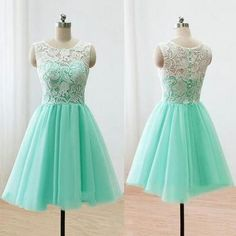 Sleeveless Green Prom Dress, Illusion Lace Prom Dresses with Buttons, Elegant Mint Short Homecoming Dress