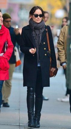 Olivia Wilde wearing Gerard Darel Double Breasted Coat Proenza Schouler PS1 Bag Ray-Ban Original Wayfarer 2140 Sunglasses