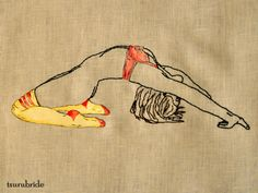 Bend  embroidery & hand painted leather applique on linen  For sale HERE.