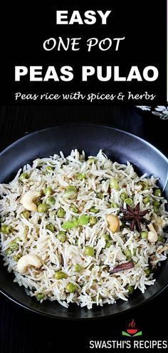 Peas Pulao is a classic Indian rice pilaf made with basmati rice, whole spices, herbs and of course green peas as they are the star of this dish. This easy one pot dish is super simple to make and just takes 30 minutes. #rice, #dinner #peaspulao #indianfood Rice Recipes For Lunch, Easy Healthy Recipes, Breakfast Recipes, Dinner Recipes, Indian Beef Recipes, Goan Recipes, Vegetarian Lunch, Vegetarian Recipes, Peas Pulao Recipe