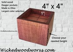 We made solid wood furniture/bed risers to help people get up from a seated position easier, sleep better and gain storage space. Custom Made Furniture, Solid Wood Furniture, Furniture Making, Painted Furniture, Painted Cottage, Shabby Cottage, Shabby Chic, Furniture Risers, Bed Risers