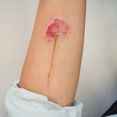 another tattoo to cover a scar. On me, the stem of this flower would be very, very long. Mini Tattoos, New Tattoos, Body Art Tattoos, Small Tattoos, Cool Tattoos, Ankle Tattoos, Tattoo Over Scar, Tattoos To Cover Scars, Scar Cover Tattoo