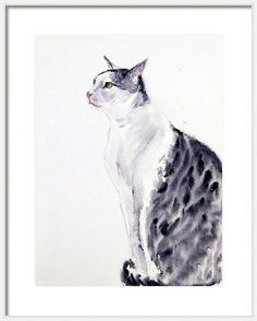 Buy Watercolor cat painting -Alert Cat x Watercolor by Art by Aashaa on Artfinder. Discover thousands of other original paintings, prints, sculptures and photography from independent artists. Watercolor Cat, Watercolor Paintings, Cat Lover Gifts, Cat Lovers, Lovers Art, Small Paintings, Original Paintings, Cat Brain, Cat Accessories