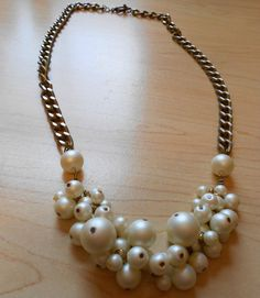 Pearl Cluster Chain Necklace | AllFreeJewelryMaking.com