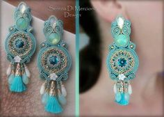 Soutache earrings with Swarovski elements - by Serena Di Mercione Soutache Earrings, Ring Earrings, Shibori, Beaded Jewelry, Handmade Jewelry, Macrame Bracelets, Beaded Embroidery, Jewelery, Beads
