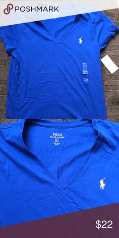 LADIES SAPPHIRE BLUE LARGE POLO SHIRT NWT Size large V NECK Polo by Ralph Lauren Tops Tees - Long Sleeve