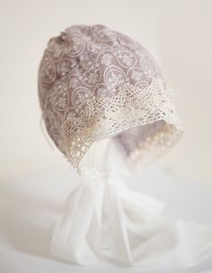 Shabby Chic Pale Brown Cotton Baby Bonnet with Cream Lace