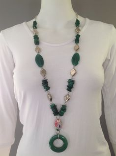Long y-necklace in emerald green with agate pendant and focal beads, polymer clay floral bead, shell chips, rhodium plated metal beads - Michela Rae - SOLD!