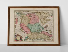 Old Map of Macedonia, originally created by Willem Janszoon Blaeu, now available as a 'museum quality' vintique wall decoration print. Old World Maps, Old Maps, Vintage World Maps, Historical Maps, Macedonia, Travel Posters, Fine Art Paper, Framed Prints