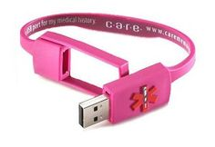 USB Medical alert bracelet. Hold ALL medical info and can be used at any computer so it can give your entire medical history when you can't! @$15 at Walgreens