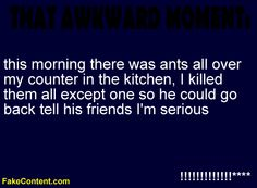 haha. there really were ants all over my counter 2 days ago...maybe this is what happened! :)