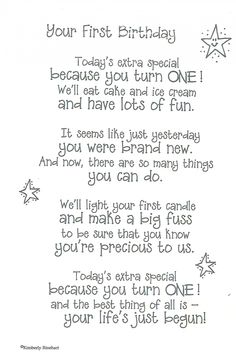 First Birthday - Poem For A Page Sticker