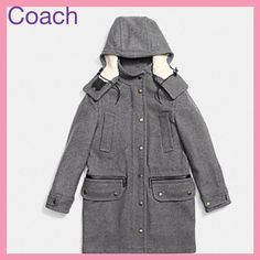 Coach Gray Wool Parka 100% Authentic Coach Wool Parka. Luxurious Gray Wool, Dual Closure Parka Coat. 80% Wool 20% Nylon. Faux shearling, removable hood, quilted lining, zip & snap closure. MSRP: $795  No trades or PP. REASONABLE OFFERS ARE WELCOME  Comes with Coach Garment Bag. Coach Jackets & Coats