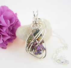Bismuth Crystal Necklace  Wire Wrapped Bismuth by FeathersnThingz