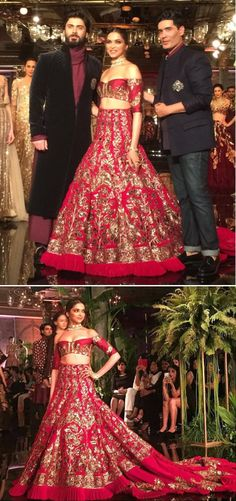 Wedding Outfit Inspiration | Deep Wine Red and Gold Lehenga | Fawad Khan | Choker Necklace | Indian Wedding Collection| Crop top | Off Shoulder | Trail on the lehenga| Love it |Deepika Padukone dazzles at Manish Malhotra  #PersianStory #ICW2016