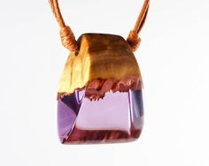Purple Resin and Wood Pendant Wood and Resin Jewelry Wood