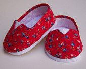 MADDIES - Toms Style Shoes American Girl,18 inch Dolls- Red with Blue Flowers