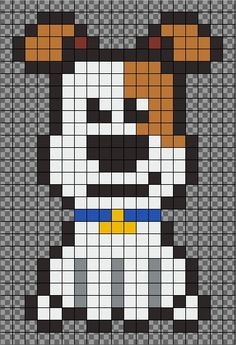 The secret life of pets – MAX – perler bead pattern by JeromeDIY. Comme des bêt… The secret life of pets – MAX – perler bead pattern by JeromeDIY. Pixel Art Templates, Perler Bead Templates, Diy Perler Beads, Pearler Bead Patterns, Perler Bead Art, Perler Patterns, Loom Patterns, Knitting Patterns, Mosaic Patterns