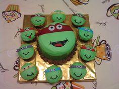Pastel Y cupcakes de tortugas ninja