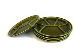 Green fondue plates, set of 5 fondue plates, French plates, divider plates, mid century by JoorVintageTreasures on Etsy